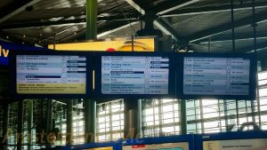 Train billboards at Schiphol Airport
